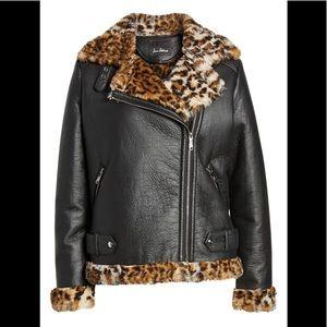 🌸SAM EDELMAN Faux Fur-Trim Moto Jacket  NWT
